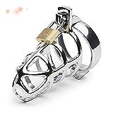 Gabbia in acciaio inossidabile con serratura per uomo, strumento per esercizi di yoga.