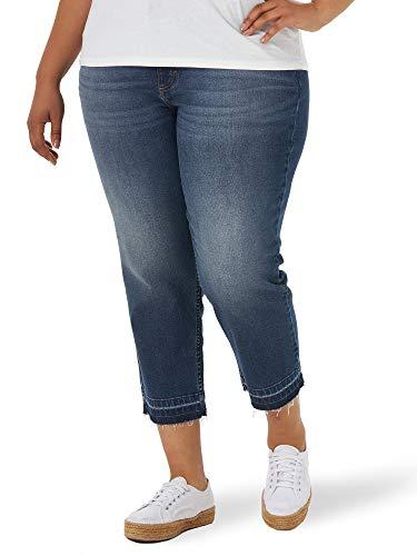 Lee Women's Size Legendary Regular Fit High Rise Released Hem Crop Capri Jean, Glory, 16 Plus Medium