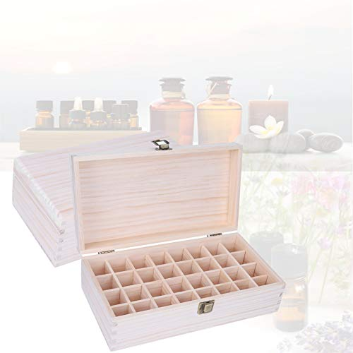 Recipiente de madera para almacenamiento de aceite esencial de 32 rejillas, organizador de madera para salón de belleza y uso doméstico, caja de maquillaje de 32 rejillas