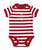 Baby Body Anker mit Herz'Glaube Liebe Hoffnung' - rot weiß gestreift - Fair - Baby, Babystrampler, Babygeschenk, Geschenk zur Geburt, Anker, Herz, gold