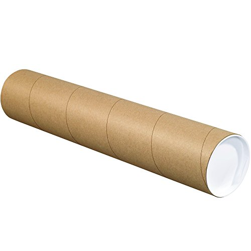 BOX USA BP4048K Mailing Tubes with Caps, 4' x 48', Kraft (Pack of 15)