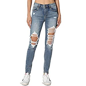 Women's Vintage Distressed Washed Stretch Denim Skinny Jeans