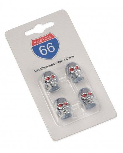 KUSTOM66 4er Set Ventilkappen Totenkopf mit roten Augen in Silber für Auto, Motorrad und Fahrrad