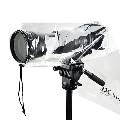 JJC 2 piezas de protector de lluvia para cámaras Canon Nikon y otras cámaras réflex digitales con lente y flash, longitud y ancho de hasta 25 x 16 cm, funda transparente para lluvia tipo C