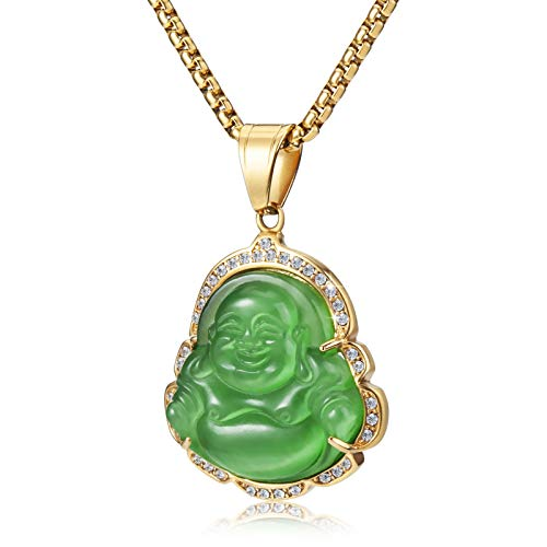 WESTMIAJW Lucky Laughing Green Buddha Pendant Chain Necklaces Amulet Jewelry for Men Women Boys 60cm