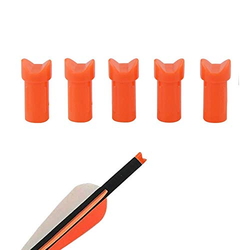 AMEYXGS 50 Pcs Replacement Half Moon Nocks for ID 7.6mm Crossbow Arrows Bolts Outdoor Shooting Hunting Arrow Tails (Orange)