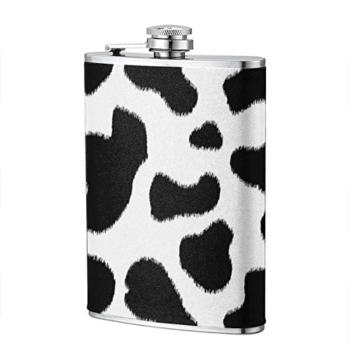 Miedhki Cow Skin Black White Pattern Flask Stainless Steel 8 Oz Flask Flask Vodka Alcohol Flask Portable Pocket Bottle, Bag Bottle, Camping Wine Bottle