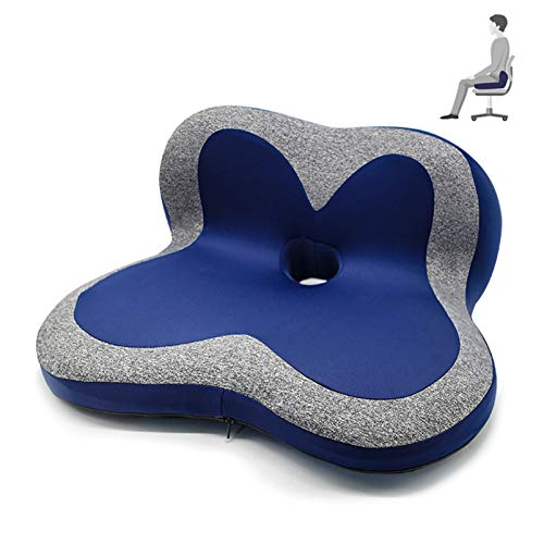 ZZBB Snug Pad Orthopedic Memory Foam Seat Cushion for Office Chair Sciatica Back Pain Relief Sitting Pillows - Truck Driver Cars Front Seats Pillow Wheelchair,B