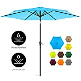 Best Choice Products 10ft Outdoor Steel Market Patio Umbrella w/Crank, Tilt Push Button, 6 Ribs, Gray