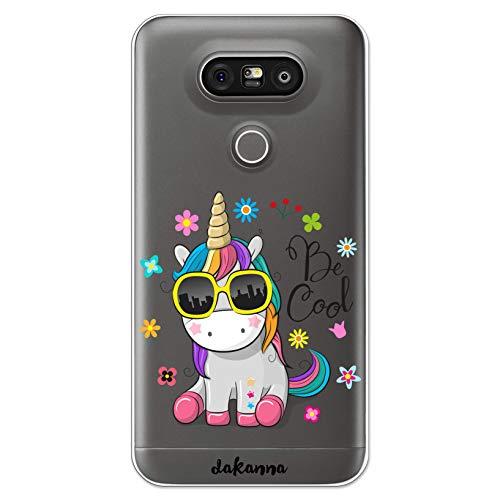 dakanna Funda Compatible con [LG G5 - G5 SE] de Silicona Flexible, Dibujo Diseño [Unicornio con Gafas Frase: Be Cool], Color [Fondo Transparente] Carcasa Case Cover de Gel TPU para Smartphone