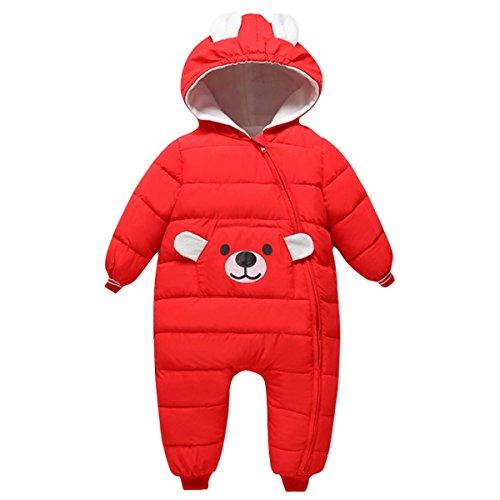 Bebone Bebone Baby Schneeanzug Jungen Strampler Mädchen Overall Winter Babykleidung (3-6 Monate/70, Rot)