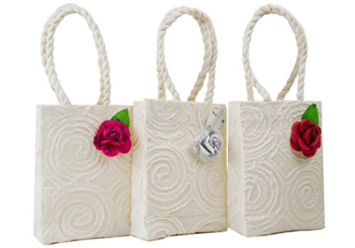 Eco Bags Small Vintage White Handmade Musical Rose Gift Bags - Pack of 3 (18cm x 12cm x 5cm)