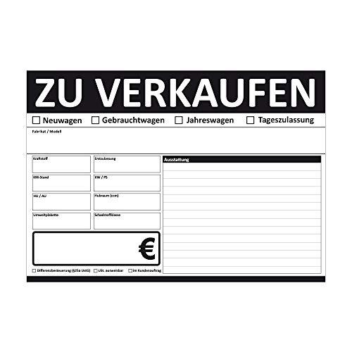 KFZ Auto Verkauffschilder DIN A4 beidseitig Bedruckt (Schwarz, 100 Stück)