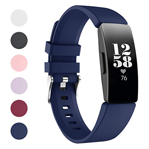 HATALKIN Watch Bands Compatible with Fitbit Inspire 2 Band & Inspire HR Bands Women Men Soft Silicone Sport Straps Wristbands Replacement for Inspire Fitness Tracker (Dark Blue, Small 5.5''-7.1'')