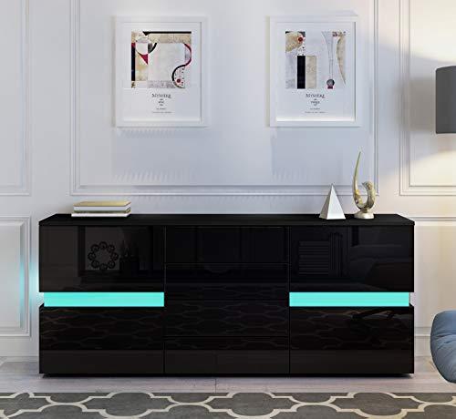UNDRANDED Sideboard Kommode Hochglanz Front mit 2 Türen 4 Schubladen RGB LED Beleuchtung für Wohnzimmer 177 x 35 x 72 cm (Schwarz)