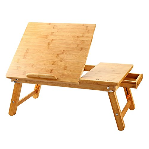 Large Bed Tray NNEWVANTE Adjustable Laptop Lap Desk Tilting Top Foldable Laptop Bed Table Multi-tasking Stand Breakfast Serving Bamboo Supports up to 17in Computer/Tablet(Smooth Flat)