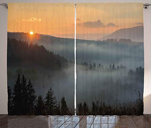 """Ambesonne Nature Curtains, Morning at Foggy Mountain Range Sunrise Pine Tree Forest Dramatic Misty Sky Scenery, Living Room Bedroom Window Drapes 2 Panel Set, 108"""" X 96"""", Misty Grey"""