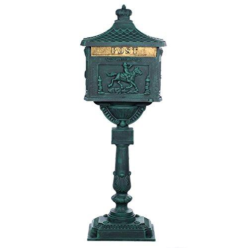 Sarah B Antiker großer und sehr edler Briefkasten GLY 05 Antikgrün Standbriefkasten, Säulenbriefkasten, Englischer Briefkasten Alu - Guss 116 cm hoch Mit riesigem Postfach für mehr Volumen.