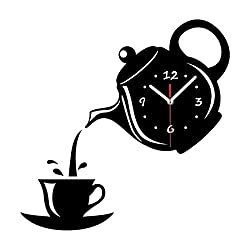 Yqs Wall Clocks Creative DIY Acrylic Coffee Cup Teapot 3D Wall Clock Decorative Kitchen Wall Clocks Living Room Dining Room Home Decor Clock (Color : Black)