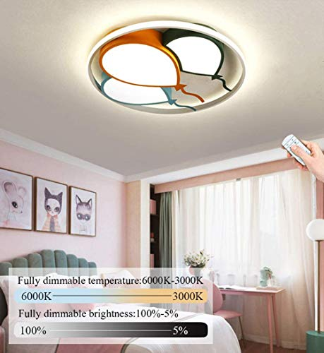 LED Deckenleuchte Kinderzimmer Cartoon Baby Lampe Moderne Dimmbar Junge Mädchen Schlafzimmer Deckenlampe Mode Luftballons Design Dekor Decken Leuchte inkl. Fernbedienung, 48 Watt, Ø42cm