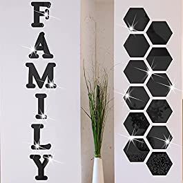 18 Pieces Acrylic Mirror Wall Stickers Family Sign Letters Rustic Farmhouse Wall Decor Removable Acrylic Mirror Setting Wall Sticker Decal for Living Room Bedroom Kitchen Decorations (Black)