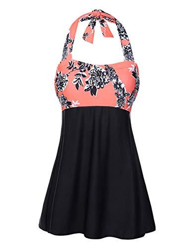 FeelinGirl Bikini Tankini Bademode Badeanzug Badekleid Strandkleid Neckholder Einteiliger Push up Badebekleidung mit Hotpants Bauchweg Top, XXL(EU 42), Pastellorange