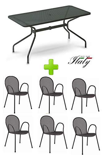 Table pour extérieur Changes 160 x 80 cm Art. 809 + 6 fauteuils Ronda – Produits en fer zingué et verni à poussières – Couleur fer ancien
