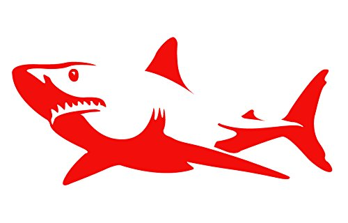 Auto Vynamics - BMPR-SHARK-8-GRED - Gloss Red Vinyl Detailed Swimming Shark Sticker/Decal - Open Mouth Design - 8-by-3.75-inches - (1) Piece Kit - Single Decal