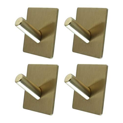 Ganchos redondos adhesivos de acero inoxidable 304, resistentes al agua, 4 unidades