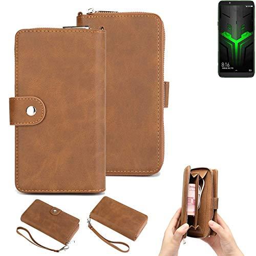 K-S-Trade 2in1 Handyhülle Für Xiaomi Blackshark Helo Schutzhülle und Portemonnee Schutzhülle Tasche Handytasche Hülle Etui Geldbörse Wallet Bookstyle Hülle Braun (1x)