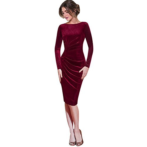 DongDong ☀Velvet Slim Work Dress, Womens Long Sleeve O Neck Office Cocktail Party Dress