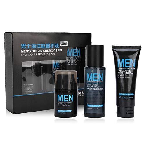 Set de cuidado facial para hombres, set de 3 piezas para el cuidado de la piel masculina, tónico limpiador de crema para la cara, set de hidratación facial para hombres, tónico de crema hidratante par