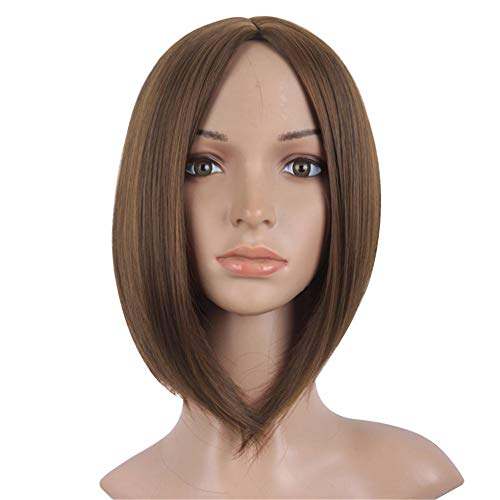 12' Short Straight Bob Wigs without Bangs, Synthetic Hair for Costume Cosplay Party or Daily Wearing for Women,brown