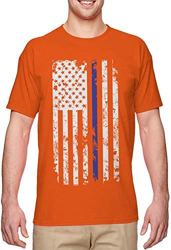 BLINGG Blue Line American Flag Police Support Men's T-Shirt,Orange,3X-Large