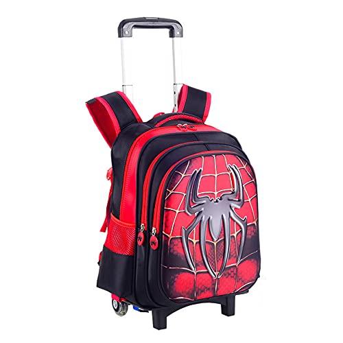 MYYLY Boy Spiderman Trolley Mochila 6 Ruedas con Barra Tracción Oculta Escolar Regalo Barra Mano para Niños Cartera Picnic Al Aire Libre 2 En 1 Transporte Equipaje Superhéroe,Red-2 Wheel