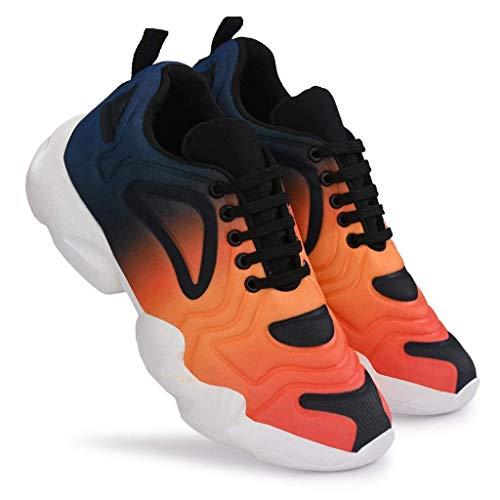 MEGPAR Men's Mesh Multicolour Running Frunky Orange Shoes 09
