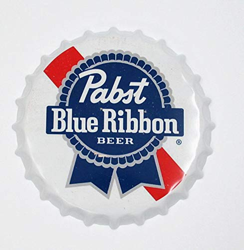 """2but Pabst Blue Ribbon Decorative Bottle Caps Metal Tin Signs Cafe Beer Bar Decoration Plat 13.8"""" Inches Wall Art Plaque Vintage Home Decor"""
