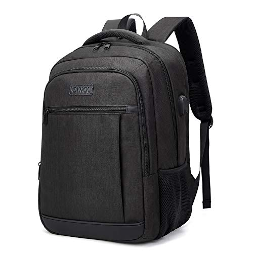 QINOL Travel Laptop Backpack Water-Proof Anti-Theft School Bag with USD Hub for 15.6 Inch Computer, Ultralight Business Bag, 5 Color (Black)