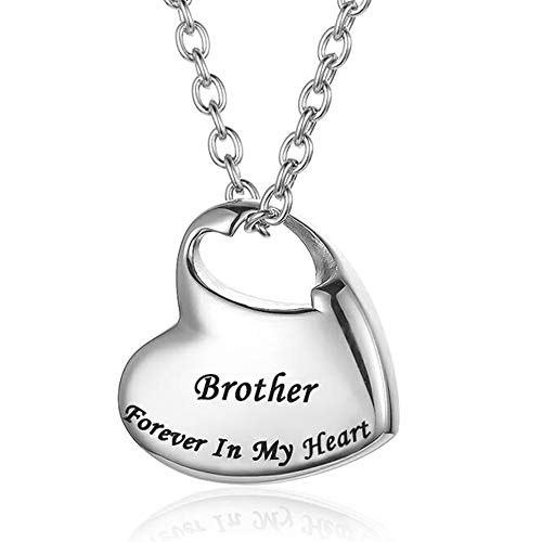 Cremation Urn Necklace for Ashes Urn Jewelry,Forever in My Heart Carved Locket Stainless Steel Keepsake Waterproof Memorial Pendant for mom & dad with Filling Kit (Brother)