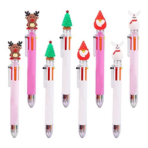 Penna a Sfera di Natale 8 Pezzi Penne di Natale Babbo Natale Renna Albero di Natale Pupazzo di Neve Penna a Sfera Regalo di Favore per Feste di Natale Scuola Ufficio Famiglia Fornitura