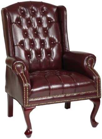 Best Office Star Thick Padded Vinyl Tufted High Back Traditional Queen Anne Style Chair with Nailhead Acc