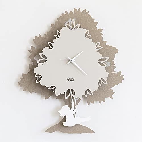 Arti & Mestieri Albero - Orologio da Parete con Pendolo di Design 100% Made in Italy - in Ferro, 33 x 5 x 40 cm - Beige e Nocciola