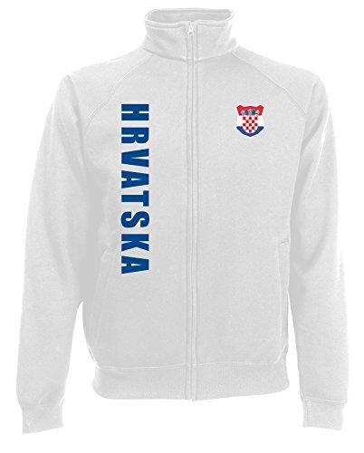 AkyTEX Kroatien Hrvatska EM-2020 Sweatjacke Wunschname Wunschnummer Weiß S