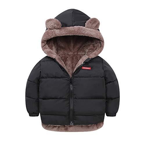 Babykleidung, Sannysis 2 in 1 Jacke Jungen Mädchen Flauschige Winterjacke Süße Wintermantel Steppjacke Dicke Warm Winter Oberbekleidung Coat 0-5 Jahre (90, Schwarz)