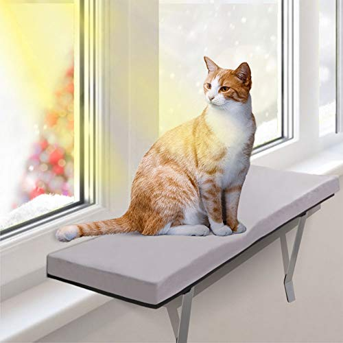 Aone Cat Window Perch, Easy Set-up DIY Kitty Sill, Cat Window Seat for Indoor Cats,Cat Mounted Shelf Bed for Pets, 23.6 x 11.8 inch, Gray