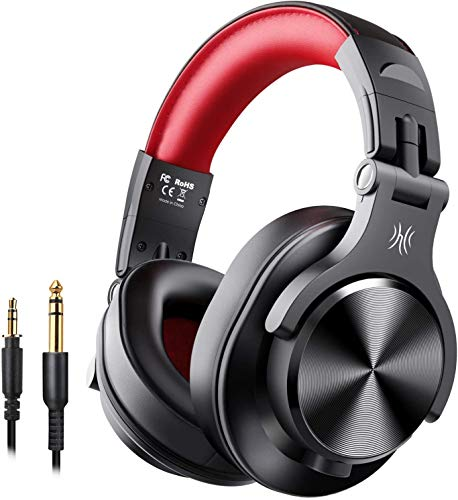 OneOdio A70 Bluetooth Over Ear Headphones, 50 Hrs Playtime, Studio Headphones with Shareport, Foldable Wired and Wireless Professional Recording Headphones with Stereo Sound for TV/PC/Phone (Red)