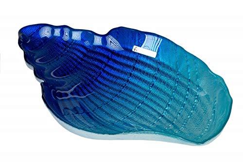 N / A Dekoteller Muschel Schnecke 25 cm blau martim Dekoration Badezimmer Glasteller