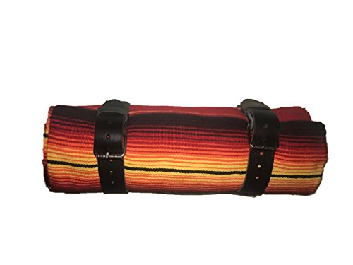 border town industries Orange/Red Sunrise Serape roll up Blanket with Leather Strap for Harley Davidson