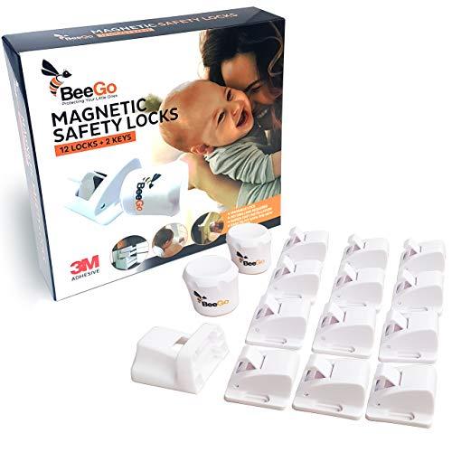 BeeGo Magnetisches Sicherheitsschloss für Kinder & Babys, für Schrank & Schublade, 12 Schlösser & 2 Schlüssel Einfache Montage BONUS Montage-Video Modernes Möbelschloss ohne Bohren oder Schrauben
