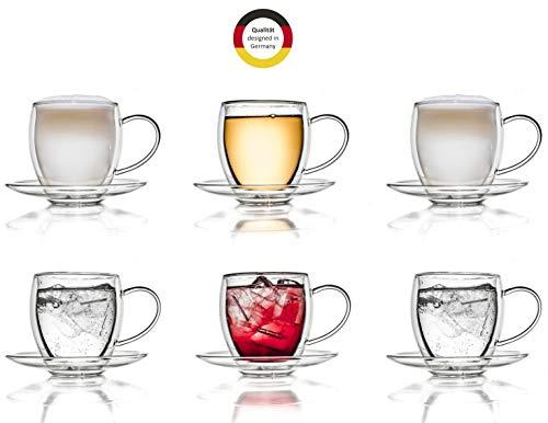 Creano 6 doppelwandige 250 ml Glas-Thermotassen mit Untersetzer, Glas-Teetasse/Kaffeetasse mit Schwebeeffekt, Glastasse mit Henkel und Untersetzer im Geschenkkarton - 6er Set
